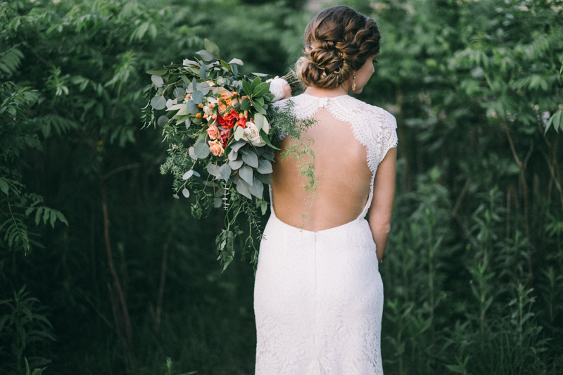 bride with bridal bouquet in st paul forest