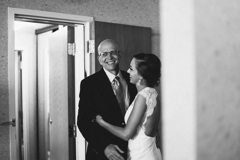 Father seeing bride before wedding