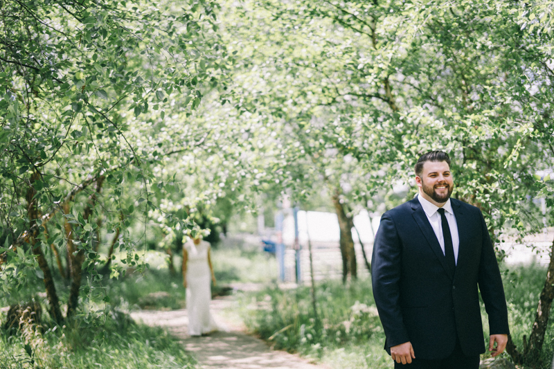 Bride and grooms first look in St Paul Minnesota