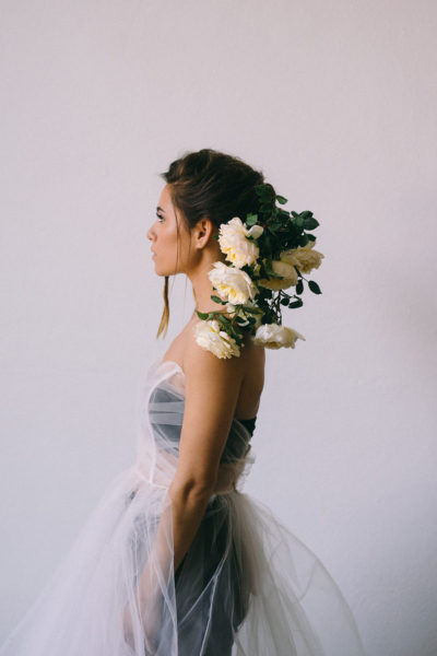 Maine Fine Art Wedding Photographer photographing bridal photos with floral wings