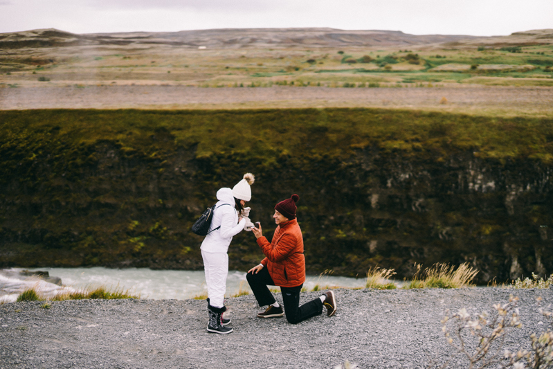 Iceland Proposal Photographer Gullfoss waterfall