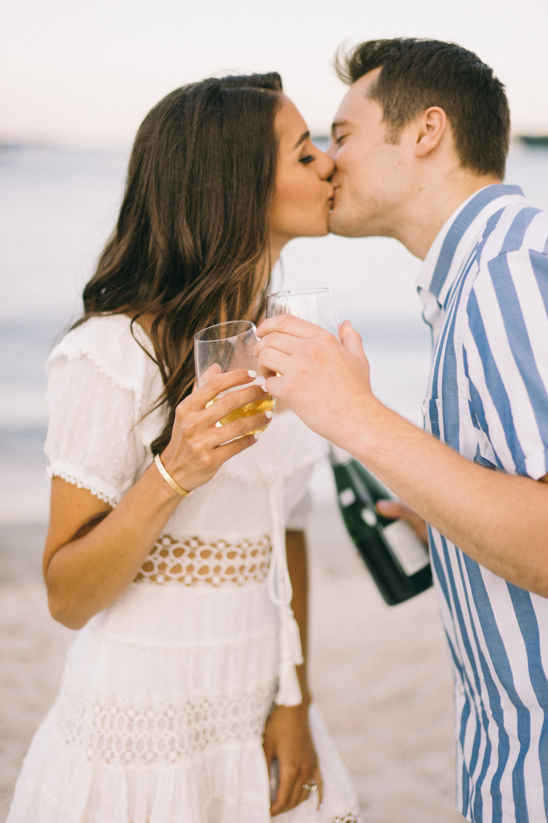 sunset beach engagement golden hour destination wedding photographer